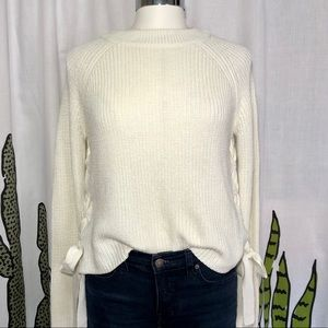 Mustard Seed Side Tie Cream Knit Sweater Sz Med